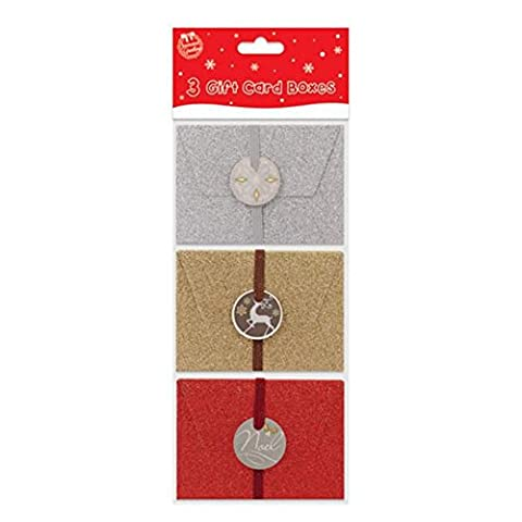 Seasons Greetings Glitter Gift Boxes (Pack Of 3) (One Size) (Multicoloured)