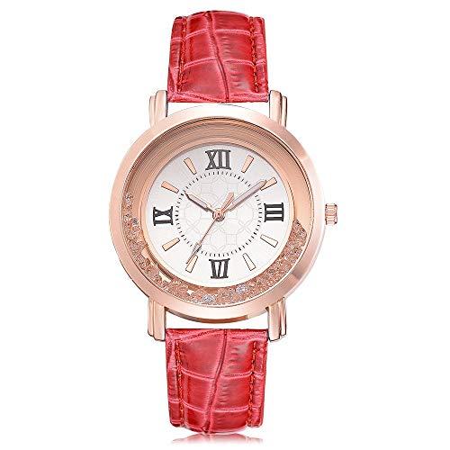 koperras Women's Watch Fashion Luxury Leisure Set Auger Leather Stainless Steel Quartz Watch