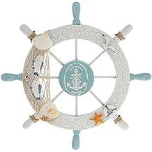 ROSENICE Timone Decorativo in Legno con Rete da Pesca Gabbiano Pesce Decorazioni a Parete