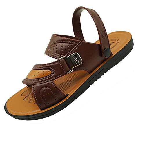 Männer Sandalen Hausschuhe Leder Rutschfeste Wohnungen Offene Spitze Strand Schuhe Sommer Britischen Stil Verschleißfeste Sandale Wasser Schuhe