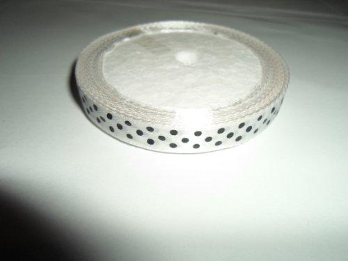 1 Rolle von 10 mm x 13 m Satinband, Weiß mit schwarz tupfen, Bevorzugungen Hochzeits-Deko Ostern Weihnachten (Schwarz Und Bevorzugungen Weiß-hochzeit)