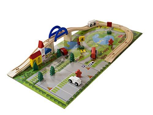 PALESTRAKI Train en Bois, Jeux en Bois et tapis puzzle, Circuit Voitures en Bois, idée Cadeau Garçon de 3 ans, Jouet en Bois pour le développement de la créativité