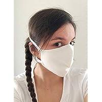 TryPinky® Handmade Mundbedeckung Mund- und Nasen-Maske mit Gummiband waschbar bis 90 °C kochfest Weiß 100% Baumwolle Handgefertigt in Deutschland mit Moltonstoff