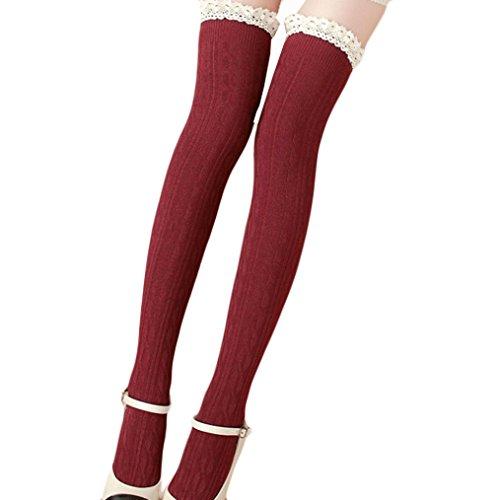 Saingace Frauen-Spitze-Winter-über Knie-Bein-Wärmer Weiche Strick Crochet Socke Legging (Rot)