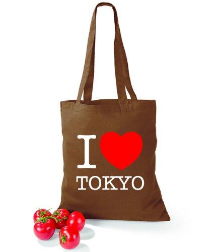 Artdiktat Baumwolltasche I love Tokyo Chestnut