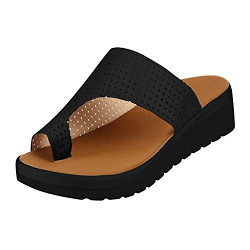 AMUSTER Sandalen Damen Keile Zehentrenner Casual stylische Pantolette mit Kork-Fußbett Flacher Sandalen