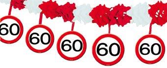 Wabenpapier-Girlande Verkehrsschild 60. Geburtstag 4m