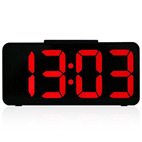 """MUTANG 9\""""Despertador Digital Grande Mudo con Puerto USB Retenido por atenuación y atenuador Activado por computadora con luz Nocturna LED (Color : Red)"""