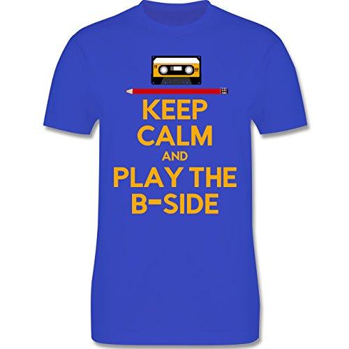 Music - keep calm and play the b-side - L190 Herren Premium Rundhals T-Shirt Royalblau