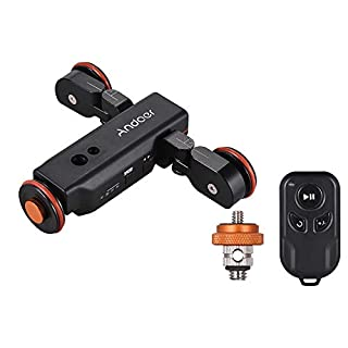 Andoer L4 PRO Motorized Camera Slider Dolly Electric Slider Track + Upgraded Remote + Rechargeable Battery + 3 Speeds + Scale Indication for Canon Nikon Sony Camera for iPhone Samsung Smartphone