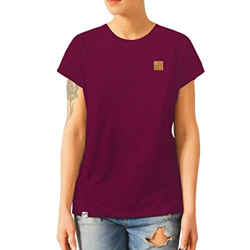 urban air StyleFit | T-Shirt | Damen | Sport, Freizeit | 100% Baumwolle, Leder-Patch, Rundhals, Kurzarm | Schwarz, Hell/Dunkel Grau, Weiß | S, M, L, XL | (L, Weinrot) (Dunkel Vorne Grün)