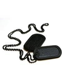 Schwarzen Spezialkräften Erkennungsmarken: 2 personalisierten Erkennungsmarken im Armeestil mit Kugelkette & Schalldämpfern