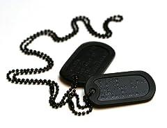 Idea Regalo - Targhetta identificativa stile militare forze speciali, con catenine e silenziatori, personalizzata con le informazioni desiderate, colore: Nero