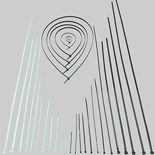 Kabelbinder Schwarz Weiß Natur alle Größen UV stabil Industriequalität Profi Kabelband Kabel Binder in 2,5 3,6 4,8 7,6 9,0 100mm 200mm 300 430 750 775 920 1020 1200 1500mm(Weiß 3,6x200mm 100St.)