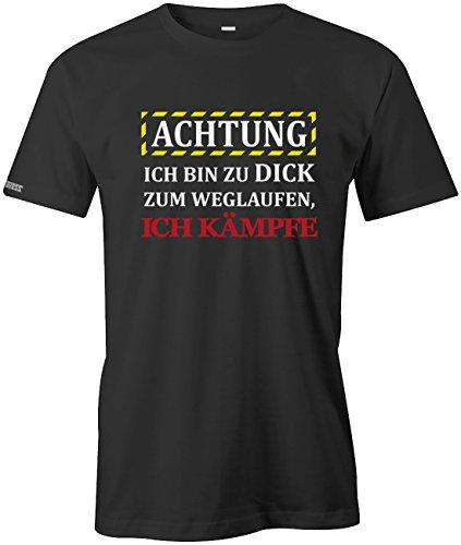 Achtung ich bin zu dick zum laufen - Ich kämpfe - Herren T-Shirt Schwarz