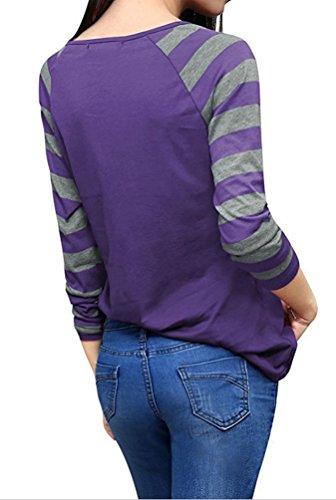 YiLianDa Casuale Canotta Scollo a V T-Shirt Manica Lunga Maglietta Camicetta Fitness per Donna Viola