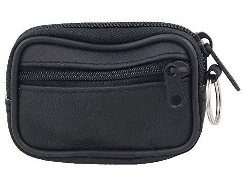 sourcingmap® Schwarze Faux Leder 2 Taschen Zipper Schlüsselanhänger für Taschengeld