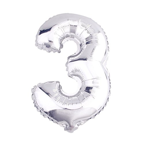 r Luftballons Buchstaben A zu Z Zahlen 0 zu 9 Geburtstag Jubiläum Hochzeit Babyparty Deko Ballons (Zahl 3) (3 Ballon)