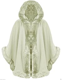 Poncho capa con capucha para mujer, piel sintética 8–16