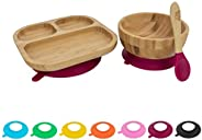 Tiny Dining Children's Bamboo Tableware Set - Plate Bowl Spoon with Stay Put Suction -