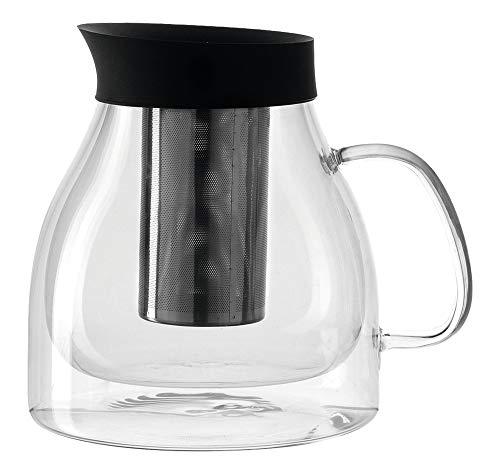 Leonardo Duo Teekanne, 1,3 l, Höhe 16,4 cm, handgefertigt, hitzebeständiges Glas und Edelstahl, 029768 - Hitzebeständiges Glas Teekanne
