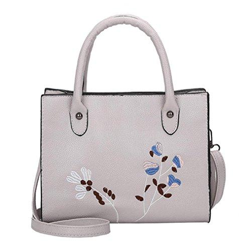 Tasche Damen Umhängetasche, Huihong Damen bestickt Print Shopper Tote elegang Business Bag PU Leder Handtasche Schultertasche (Grau) (Bestickt Leder Handtasche)