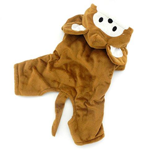zunea Samt Affe Kleiner Hund/Katze Halloween-Kostüm mit Kapuze Pet Puppy Jumpsuit Pyjama Winter Warm Hund Kleidung Bekleidung (Halloween-kostüme Hund Affe)
