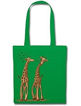 Giraffen Liebe Giraffenpaar Kuss Stoffbeutel von Spreadshirt®