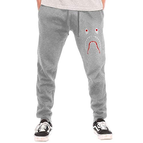 LihaiLe Shark Face Men's Long Pockets Pants Gray