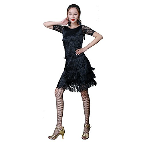 (Wanson Frauen Classic Latin Dance Kleid Kostüm Diamant Tanz Kleid Quaste Kleid Rock Dance Show Kostüm,L)
