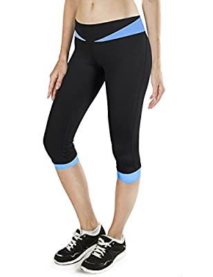 Baleaf Women's Yoga Workout Capri Leggings Running Pants Tights