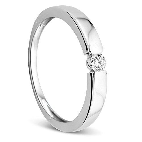 Orovi Damen Verlobungsring Gold Solitärring Diamantring 9 Karat (375) Brillianten 0.10crt Weißgold Ring mit Diamanten (Diamant Verlobungsringe Ein)