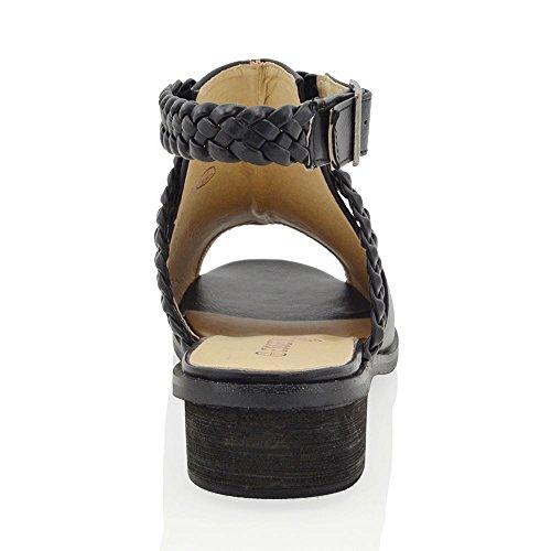 Essex Glam Scarpa Donna Peep Toe Pelle Sintetica Tacco Basso Cinghia Posteriore Nero Pelle sintetica
