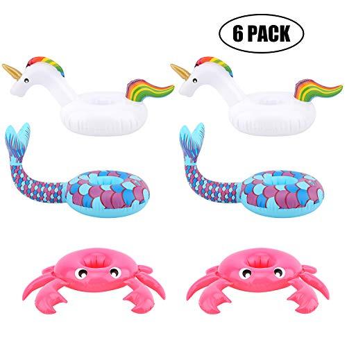 HeySplash [6 Pack] Posavasos De Flotador, Inflatable Beverage Floats Copa Posavasos para Fiesta en la Piscina y diversión acuática- Cangrejo Rosado,Unicornio Blanco y Sirena Azul
