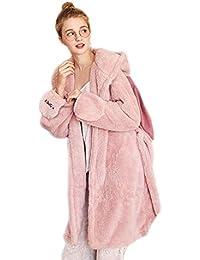 Pijama LINGZHIGAN Otoño e Invierno Terciopelo de Coral Hembra Lindo camisón camisón de Invierno Femenino Flojo