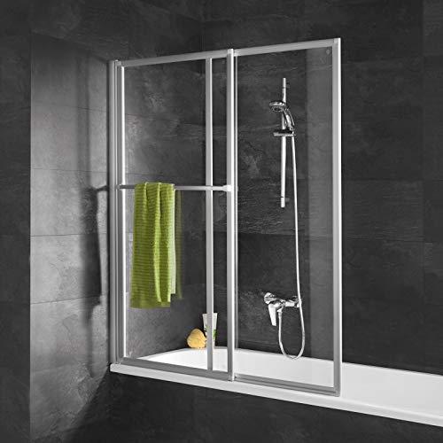Schulte D1130 01 50 Duschabtrennung mit Handtuchhalter, ausziehbar 70 - 118 cm, 140 cm hoch, 3 mm Sicherheitsglas Klar hell, alu natur, Duschwand für Badewanne