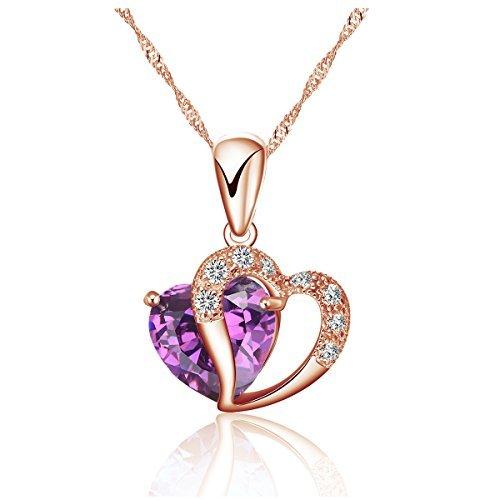 TEJ Damen Rose Gold Herz Anhänger Halskette Singapur 925 Sterling Silber 40 - 45 cm