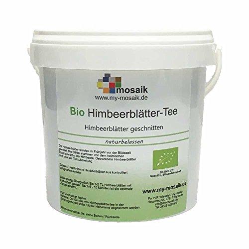 my-mosaik Bio Himbeerblättertee - 100% naturbelassen, geschnitten, ohne Zuckerzusatz, kbA, idealer Vorratsbehälter - lebensmittelecht - wiederverschließbar, abgefüllt in Deutschland 100g
