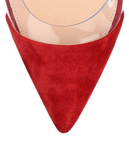 uBeauty Femmes Aiguille Talon Stilettos Slip On Escarpins Transparent Chaussures Enfiler Grande Taille Rouge Suède