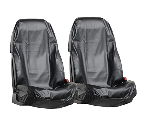 L&P Car Design GmbH A0077 2 Stück Auto Sitzschoner Werkstattschoner Sitzbezug aus robustem Kunstleder in Schwarz aus ECO Leder Schonbezug wasserdicht pflegeleicht robust langlebig PU in Schwarz Wasserdichtes Leder