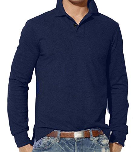 Da uomo Abbigliamento a Maniche Lunghe Tinta Unita Polo | S M L XL 2X L 3X L | Custom Fit Top Navy