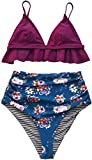 CUPSHE Pflaume und Floral Beidseitig Bikini (M, Pflaume)