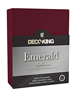 DecoKing 17531 Spannbettlaken 120 x 200 - 140 x 200 cm Jersey 100% Baumwolle Boxspringbett Spannbetttuch Emerald Collection, bordeaux