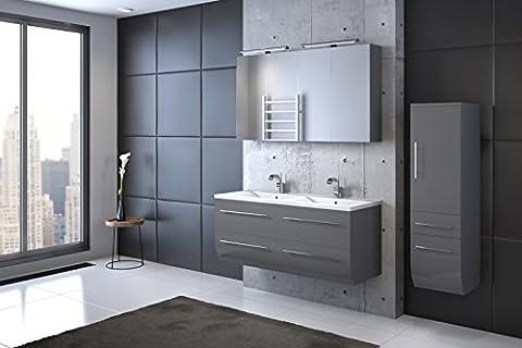 Bad11® - Badmöbelset ZESIRO CLASSIC in Hochglanz grau - 4 teiliges Komplettset mit Doppelwaschbecken inklusive Mineralguss-Waschbecken, Hochschrank bietet viel Stauraum, 2 x Spiegelschrank,