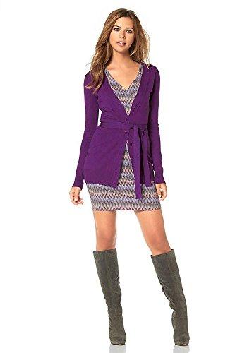 Buffalo Femme Veste en tricot, Veste en tricot avec écharpe mauve/Bleu Multicolore - Violet/bleu