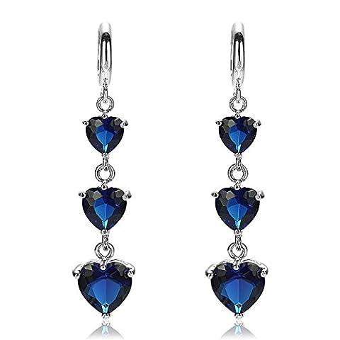 Rizilia Bijoux 3 Coeur Cut Blue Sapphire Couleur Gemstones Bien