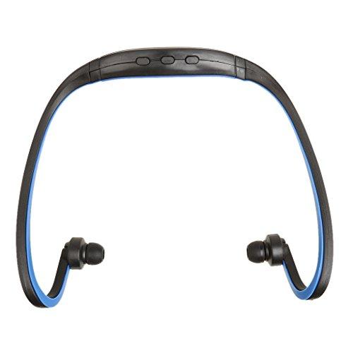 MagiDeal Sport USB Mp3 Wma Musik Player für TF/SD Karte Schluss Drahtloser Headset Kopfhörer für Läufer Jogger Radfahrer Sport Outdoor - Blau - Läufer Headset