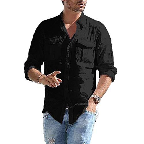 DNOQN Herren Pullover Slim Fit Baumwoll Shirts Herren Baggy Baumwolle Leinen Tasche Solide Langarm Retro T Shirts Tops Bluse M