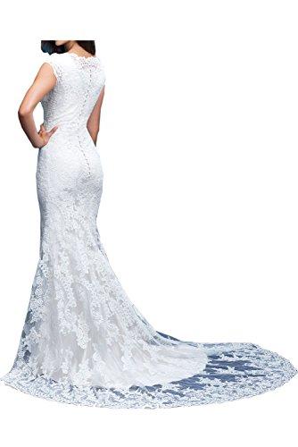 Sunvary Elegant Spitze Kurzarm Abendkleider Meerjungfrau Ballkleider Lang Mutterkleider Bildfarbe