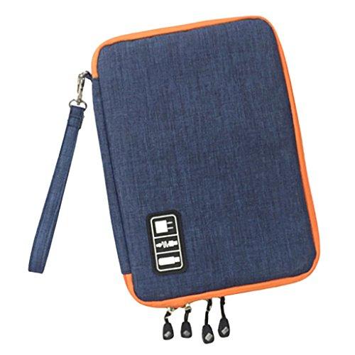 MagiDeal Sacchetto Doppio Strato di Nylon Organizzatore Dell'assistente Caricatore Rilievo Telefono per Viaggio Campeggio Blu